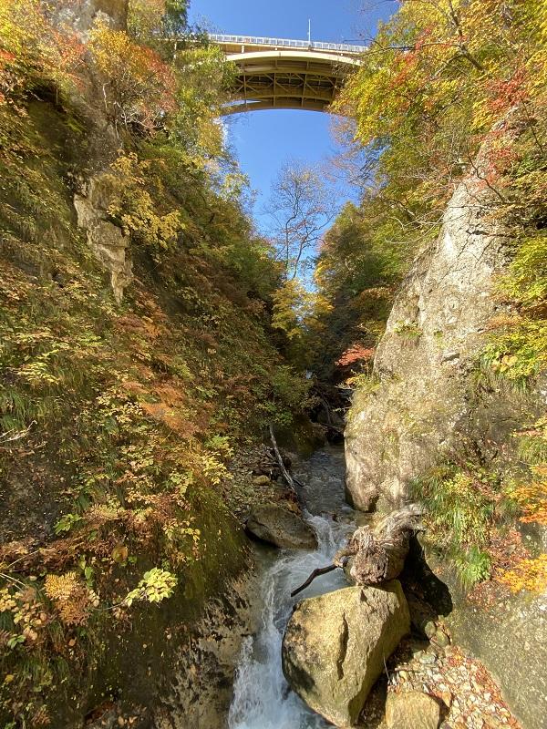 iphone11proで鳴子峡の遊歩道から鳴子峡を望んだ風景写真