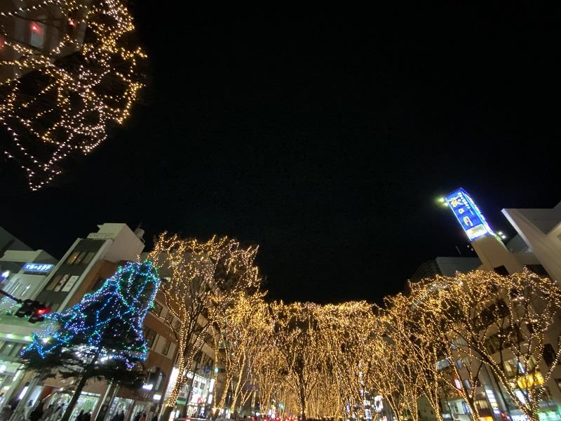 仙台光のページェントをナイトモードで撮影した写真